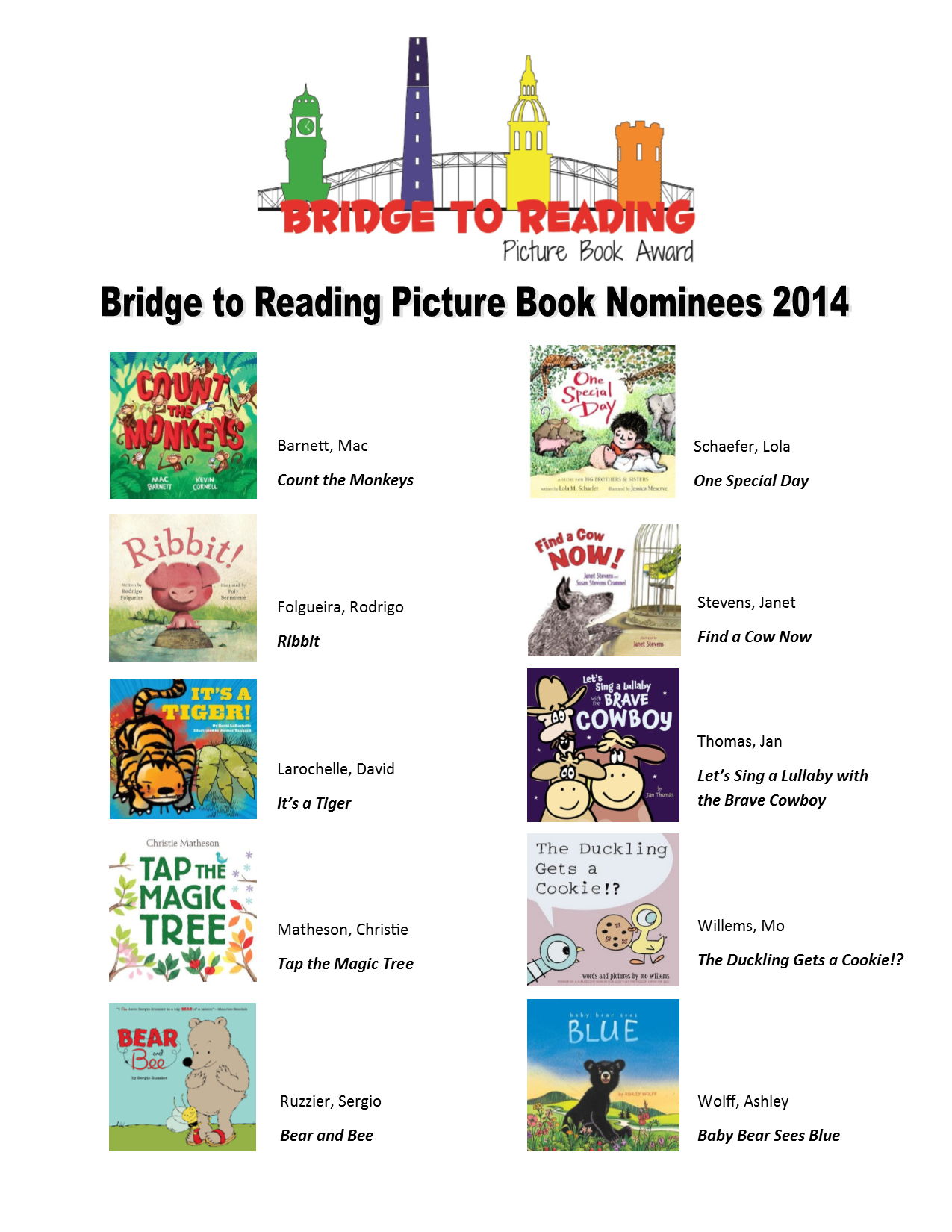 Bridge to Reading Book Nominees 2014