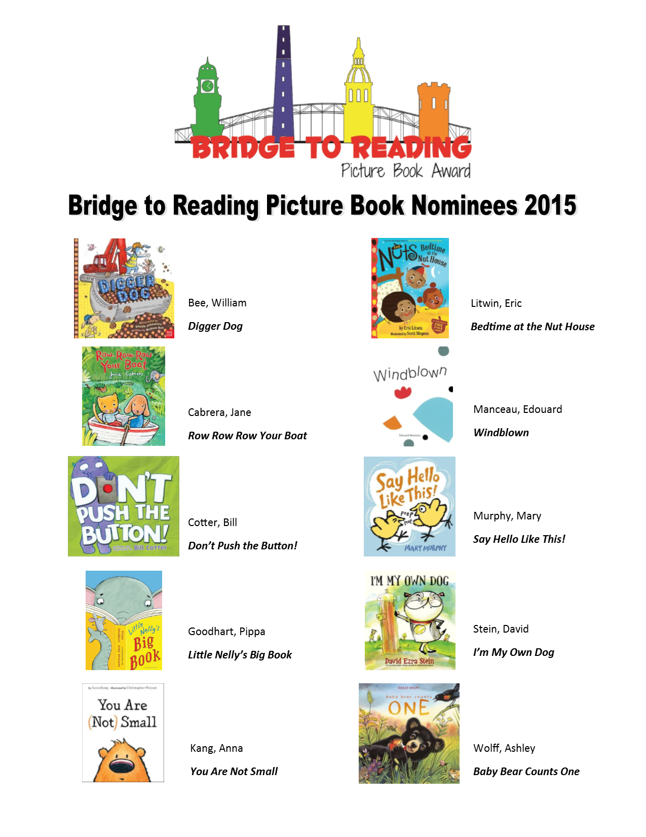 Bridge to Reading Book Nominees 2015 flyer
