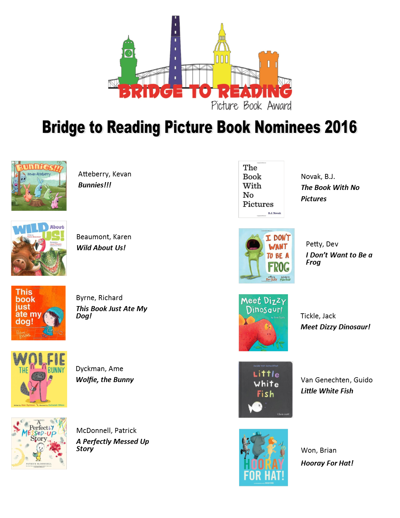 Bridge to Reading Book Nominees 2016 flyer