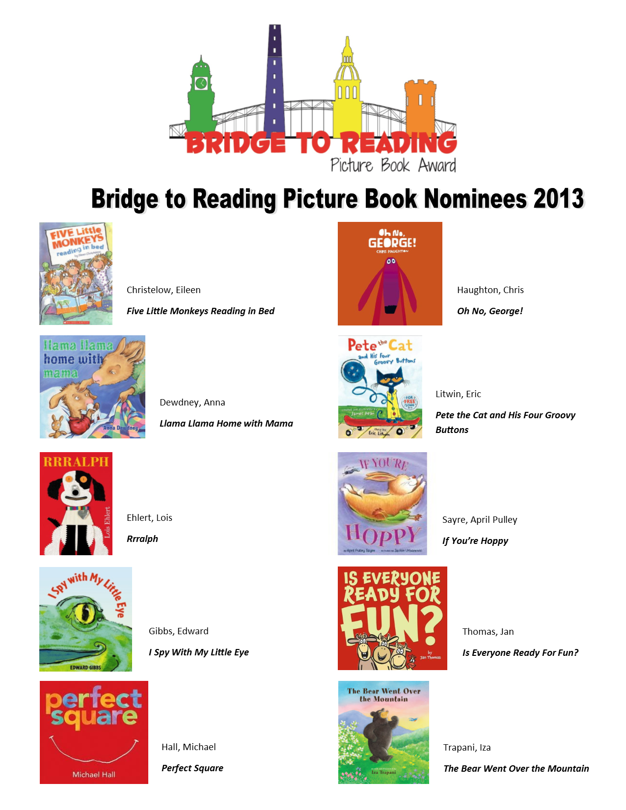 Bridge to Reading Book Nominees 2013